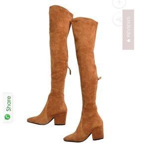 "Goodnight Macaroon Tan ""Marlo"" Over the Knee Boots"